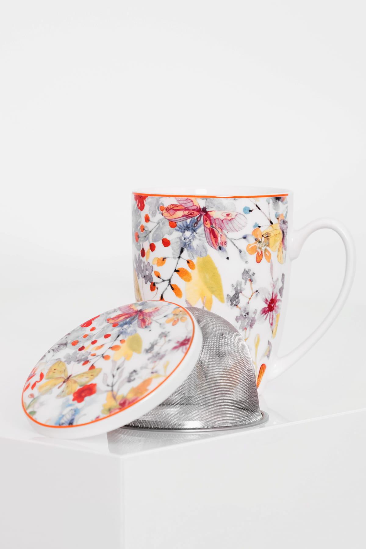 2485a26cd61be0 Porcelanowy kubek z zaparzaczem 320 ml CUBIC kwiaty - Sklep MG ...