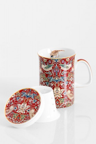 Porcelanowy kubek z zaparzaczem WILLIAM MORRIS RED