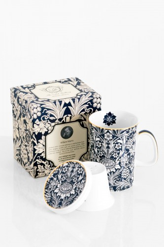 Porcelanowy kubek z zaparzaczem WILLIAM MORRIS BLUE