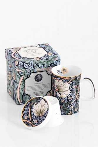 Porcelanowy kubek z zaparzaczem WILLIAM MORRIS green
